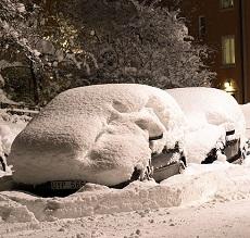 Snö på bil
